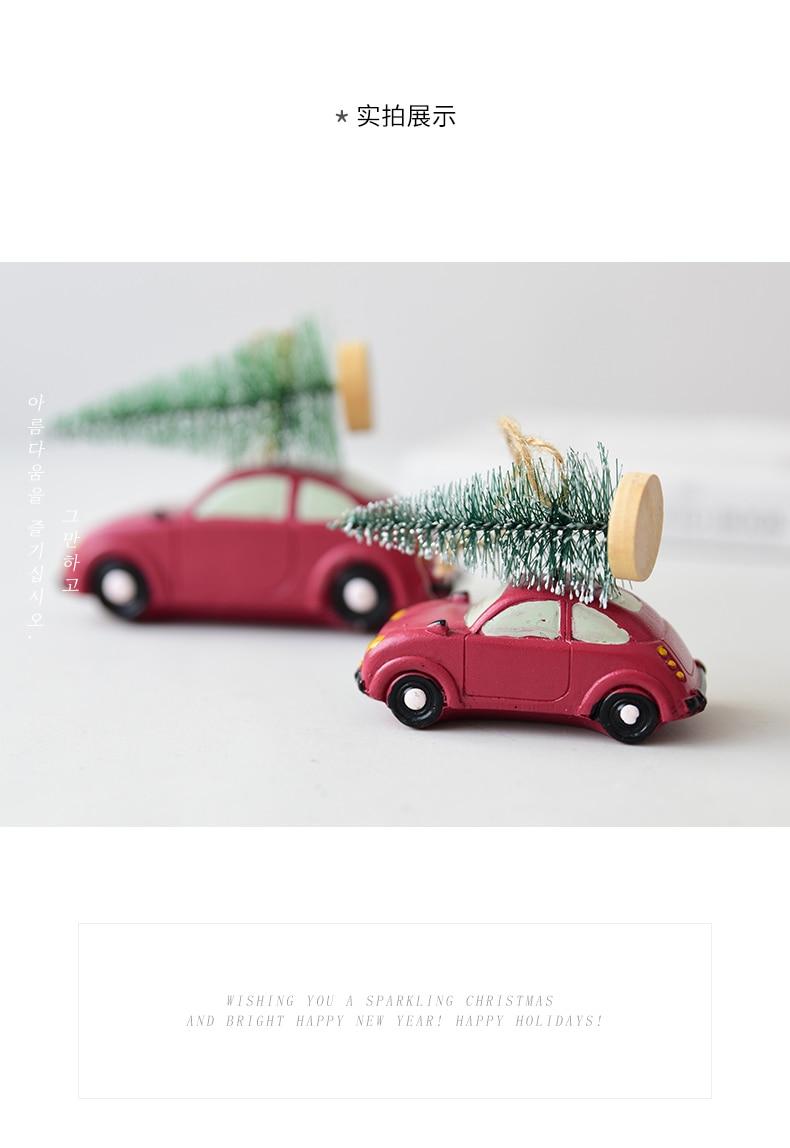 Resin American Mini Car Pull Christmas Tree Desktop Small Ornaments Christmas Decorations Pendant Xmax Ornament QW248 (7)