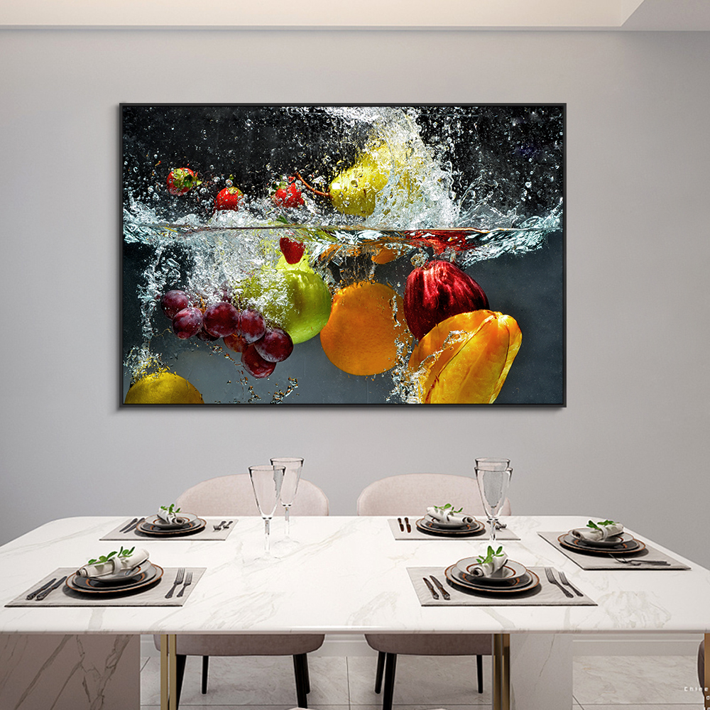 Fresh Fruit and Vegetables In Water Print Poster Decoration Wall Art Posters For Home Kitchen Decor Living Room Canvas Painting
