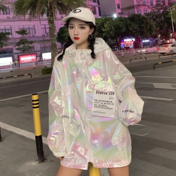 Loose Coat Harajuku Riverdale Holographic Tunic Basic Women Long Jacket Befree Veste Femme Personalities Sunscreen Clothes джинсы befree befree mp002xw0fqcg