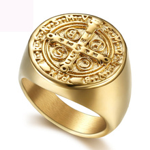 цена на Jesus jewelry crucifix rings titanium steel jewelry ring gold color casting ring for men free shipping