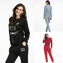 2020 Spring Autumn Two Piece Sets Women Slim Casual Long-sleeved T-shirt Pants Sportswear Letter Print Tracksuit Home Wear Suit