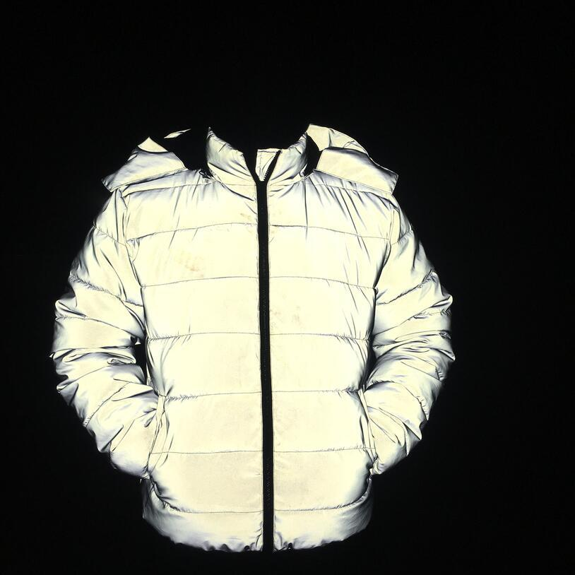 CO 2020 Men New Reflective Thickening Warm Winter Cotton-padded Jacket Teenagers Noctilucent Hooded Cotton-padded Clothes