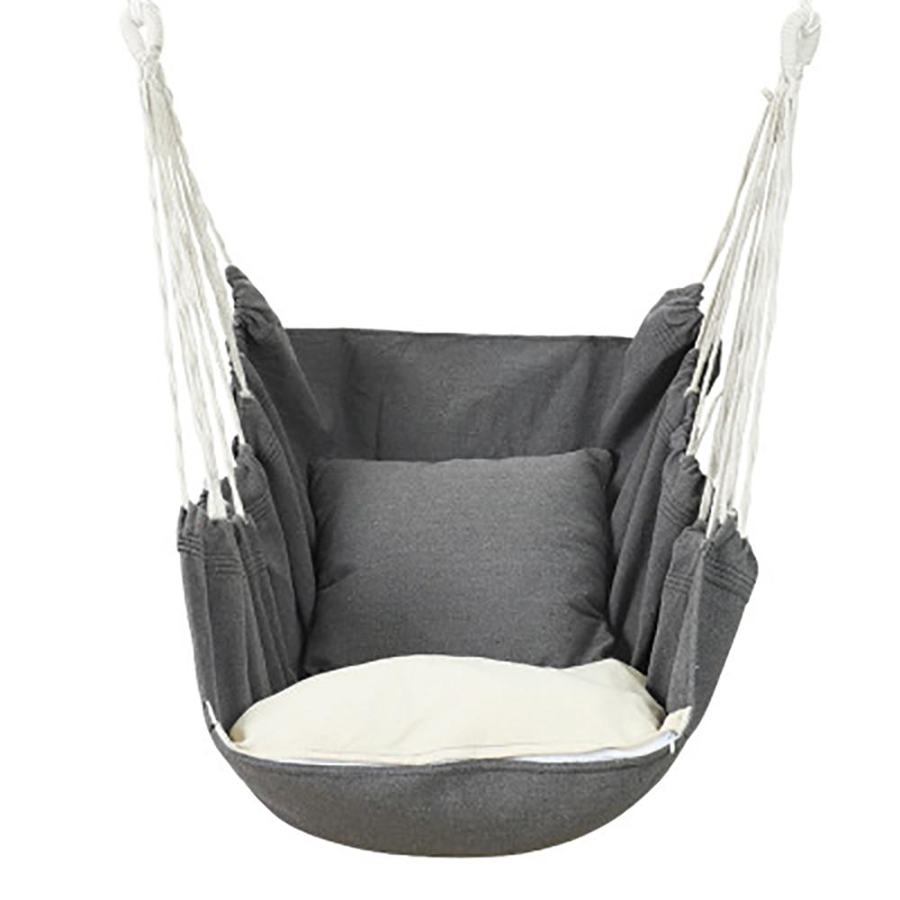 Garden Hang Chair Swinging Indoor Outdoor Furniture Hammock Hanging Rope Chair Swing Chair Seat With 1 Pillows Hammock Camping
