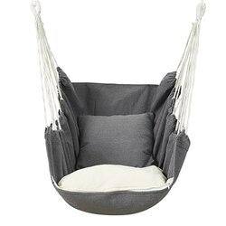 Ogród powiesić krzesło Swinging kryty meble ogrodowe hamak wiszące liny krzesło krzesło obrotowe siedzisko z 1 poduszkami hamak Camping|Hamaki|Meble -