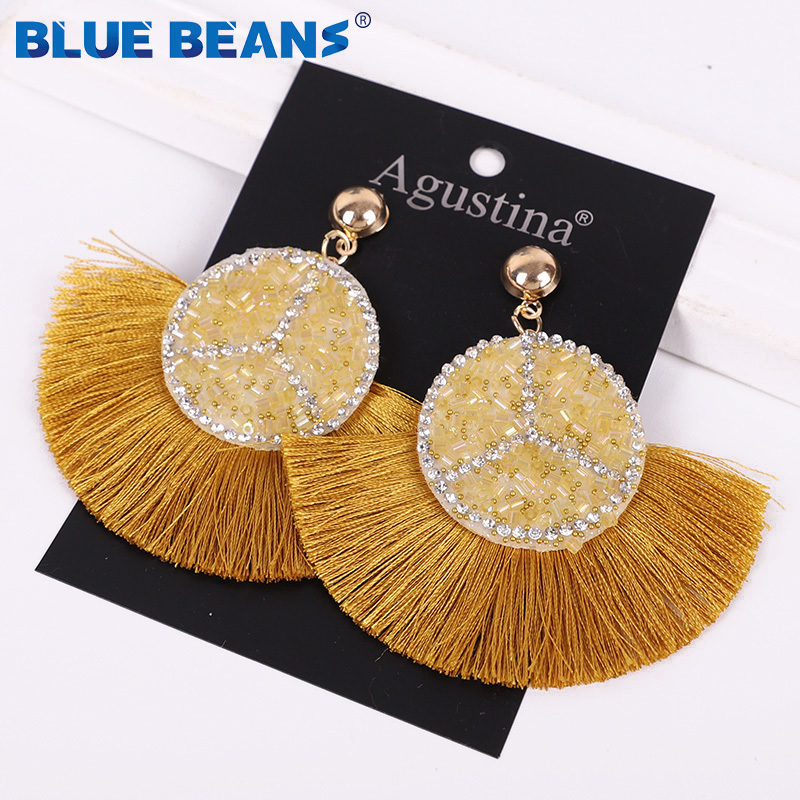 H525609e8cc5d4cac824316fa764b715bv - Tassel Earrings Women Punk Earings Fashion Jewelry Hanging Crystal Star Girls Earring Drop Dangle Long Boho Set  Luxury Handmade