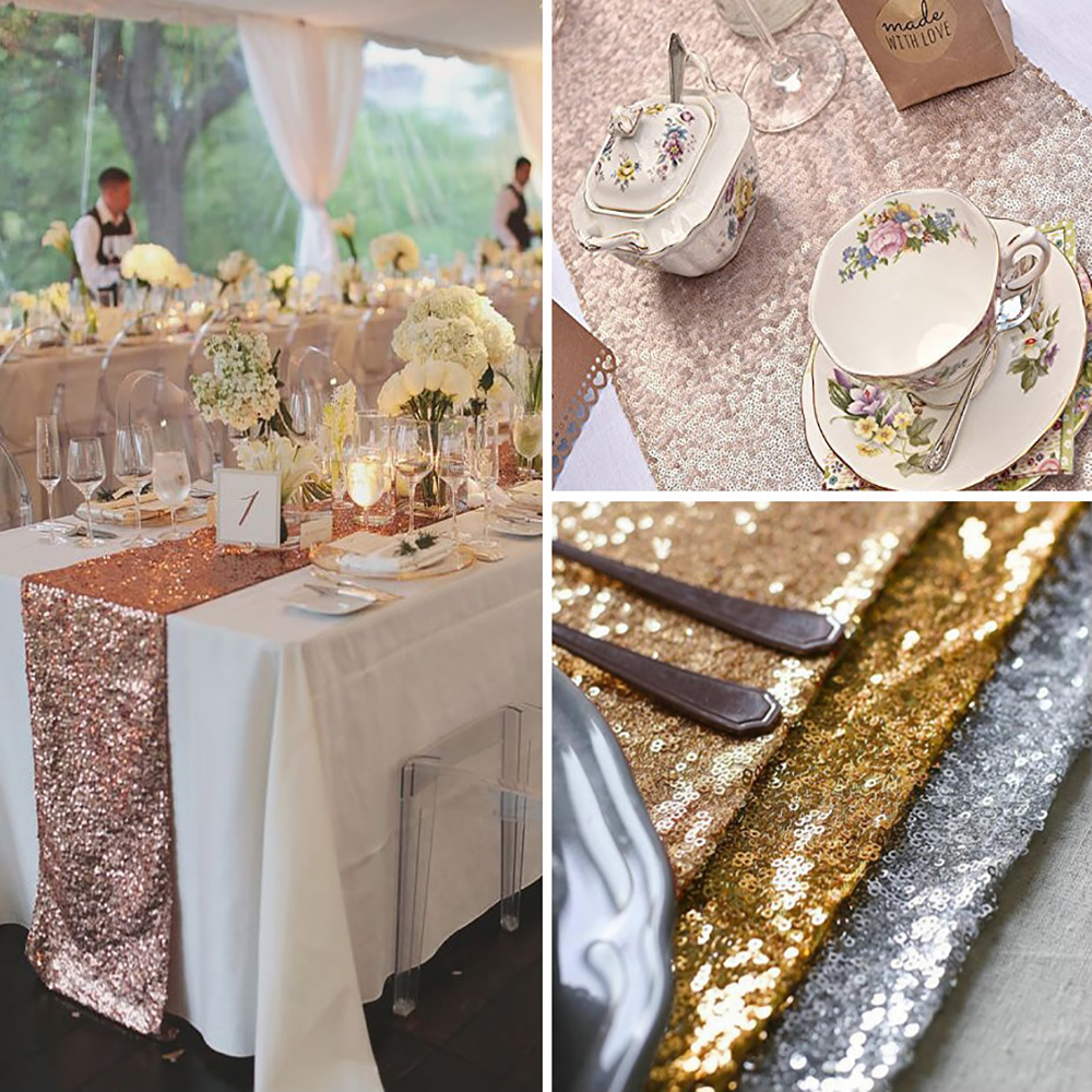30x120cm/30x180cm/30x275cm Sparkly Rose Gold Sequin Table Runner For Wedding Party Christmas Table Runner Tablecloth Decoration