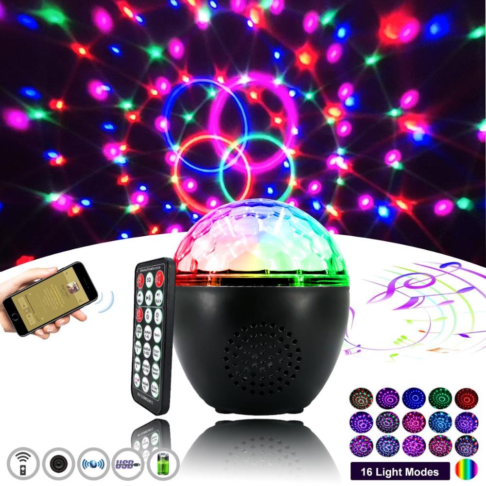 Disco Ball Party Music Light Dj Bluetooth Speaker With Remote Control 16 Mode LED Laser Projector Suitable For Parties Festivals
