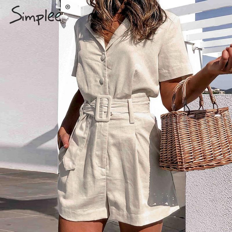Simplee Elegant sash belt women playsuits Short sleeve buttons cotton linen female romper jumpsuit Spring summer ladies overalls