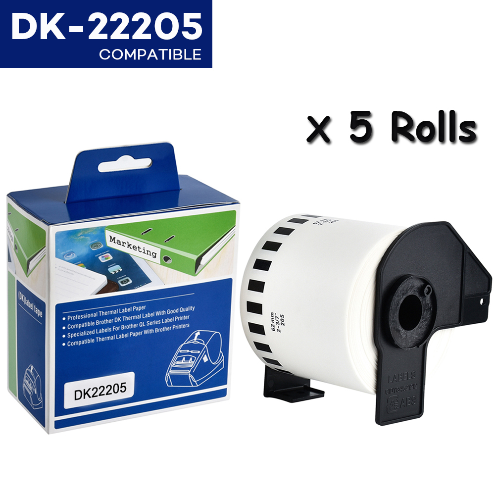 CIDY 5Rolls DK-22205 Compatible For Brother Labels DK-22205 DK 2205 DK 205 Continuous Labels For QL570 QL700