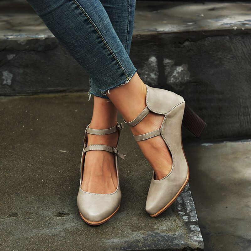 Bayanlar 2019 yüksek topuklu yazlık sandalet Ayakkabı Kadın Ayak Bileği Kayışı Artı Boyutu 43 Kalın Topuk Ayakkabı Sandale Femme Zapatos De Mujer