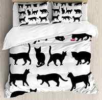 Kot zestaw poszewek czarny kot sylwetki w różnych pozach zwierząt domowych Kitty łapy ogon i wąsy dekoracyjne 3 sztuka łóżko