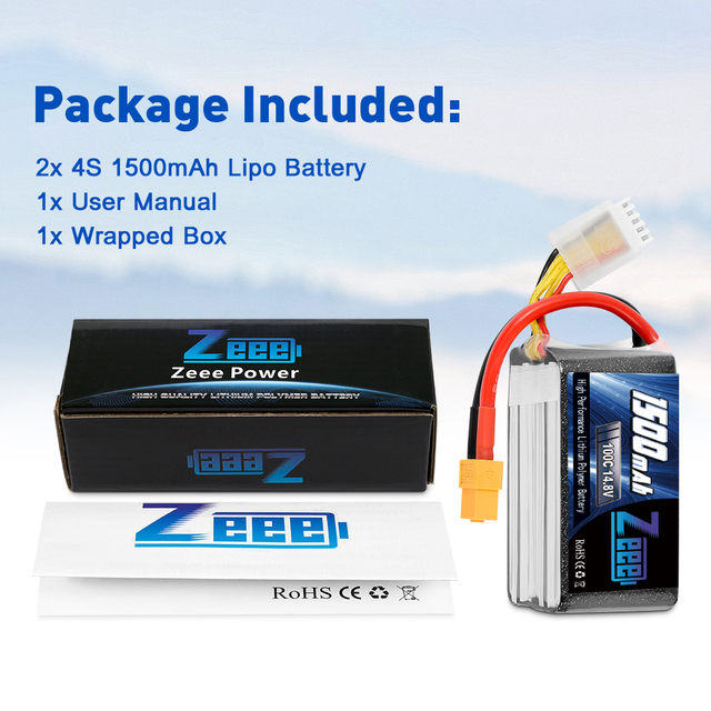 2units Zeee 4S 14.8V 1500mAh 100C Lipo Battery with XT60 Connector Softcase Lipo Battery for RC Car Truck Airplane FPV UAV Drone 6