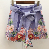 Women Shorts Summer Flower England style Mid Waist Casual Summer short mujer pantalon corto mujer