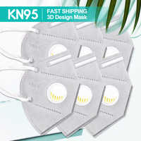 KN95 Face Mask for Men Women Kids Respirator Anti Haze Protective Mouth Masks with Breathing Valve for Disposable Pad Filter