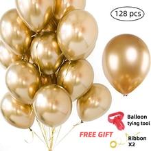 128pcs סיטונאי זהב מתכתי מסיבת בלוני 12 Inch מגוון מתכת כרום סגסוגת לטקס בלון חדש יום הולדת שנה קישוט