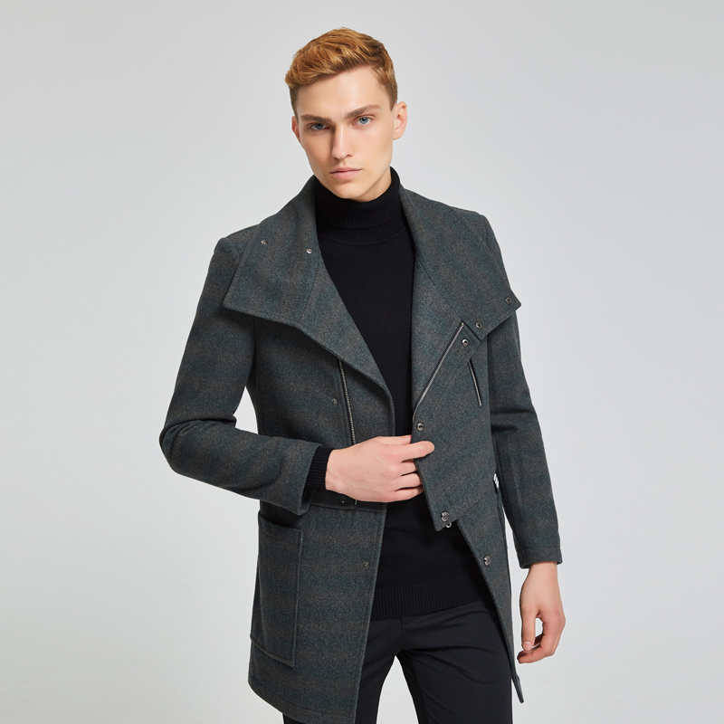 Men's Coat Short Wool Coats Man Jacket Casual Winter Coat Men Grey Mens Coats Overcoats Abrigo Hombre KJ251