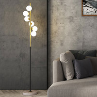 Simple LED Living Room floor lamp Nordic Simple Glass Ball marble Standing Lamp Home Deco Lighting Fixtures Bedside Lamps G4|Floor Lamps| |  -