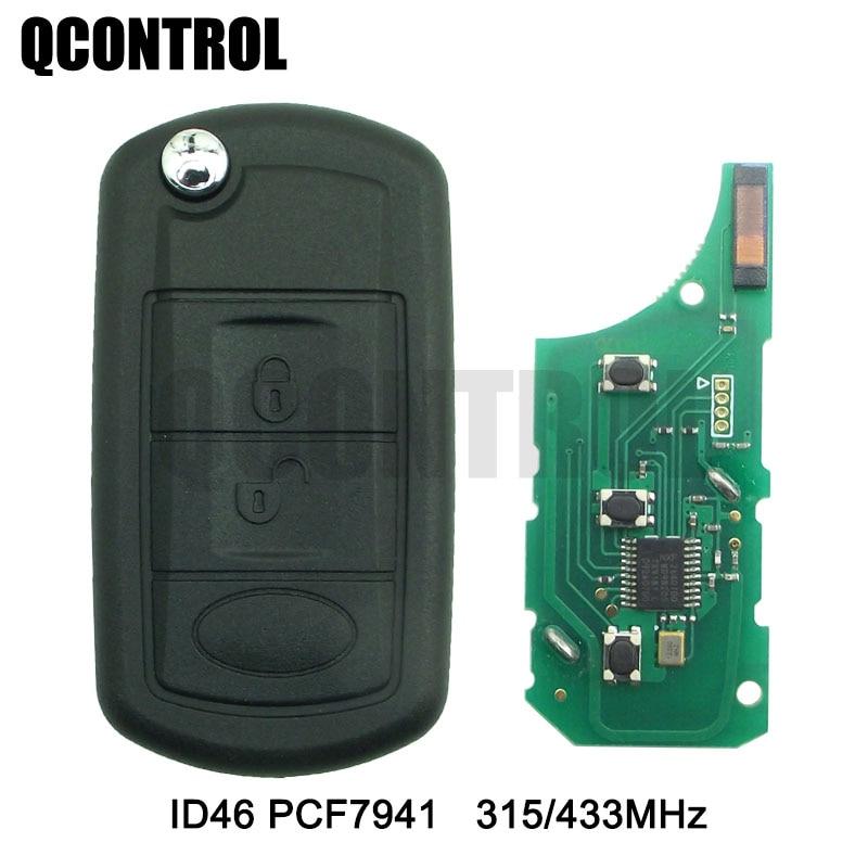 Qcontrol 3 botões flip dobrável controle remoto chave do carro remoto fob 315mhz433mhz para range rover sport land rover discovery 3
