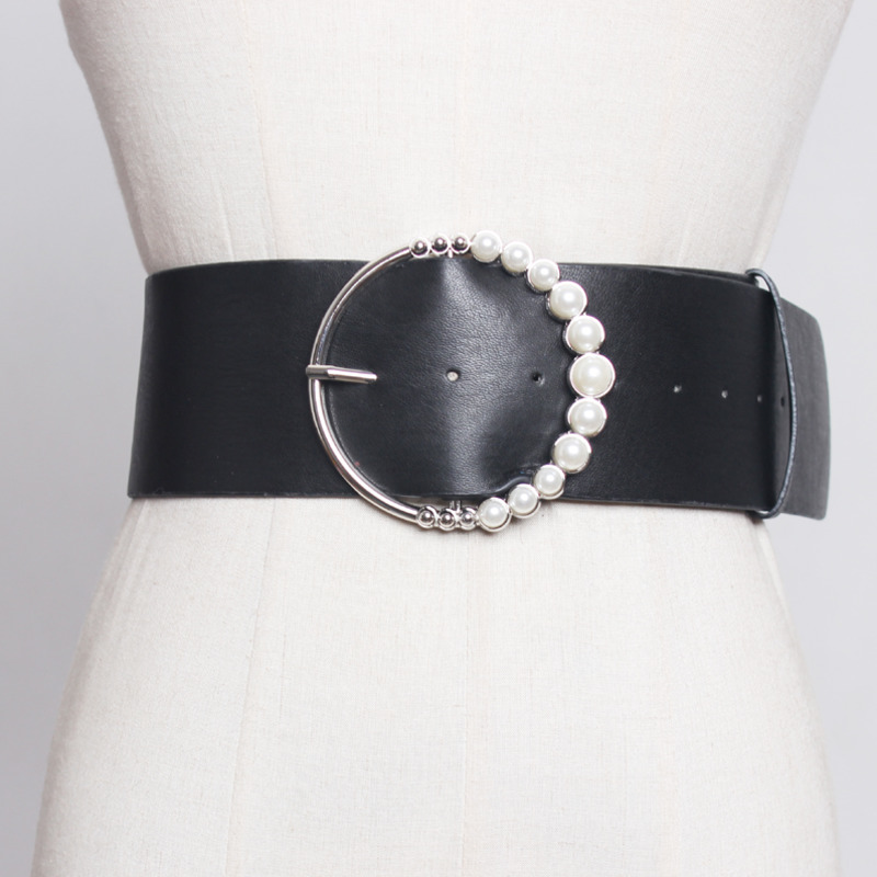 2020 New Fashion Wide Belt For Women Solid Black Metal Pearl Buckle Casual All-match Leather Corset Belt Female Waistband ZK305