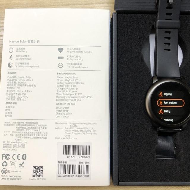Haylou-reloj inteligente Solar IP68, reloj inteligente resistente al agua para Android e iOS, Haylou LS05 5