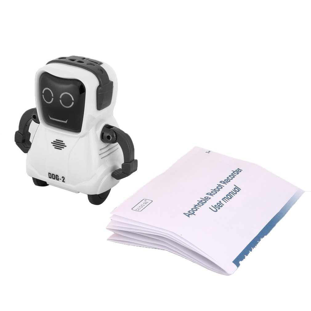 DDG-2 Intelligent Smart Mini Pocket Voice Recording RC Robot Recorder Freely Wheeling 360 Rotation Arm Toys for Kids Gift