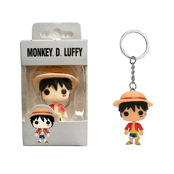 FUNKO POP Pocket Keychain Anime ONE PIECE Luffy Chopper LAW Action Figure Toys Decoration Key Ring for Kids Gifts 2