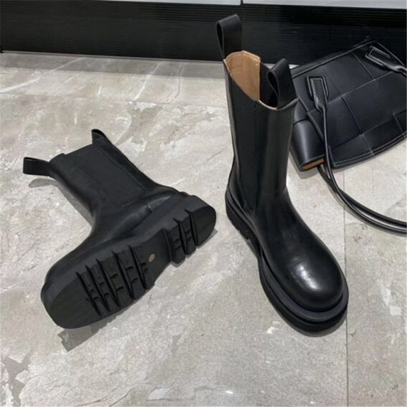 Joy Rose 2020 nuevas Botas Chelsea negras de moda para Mujer Botas de cuero genuino botines planos Mujer Botines cortos deslizantes - 4