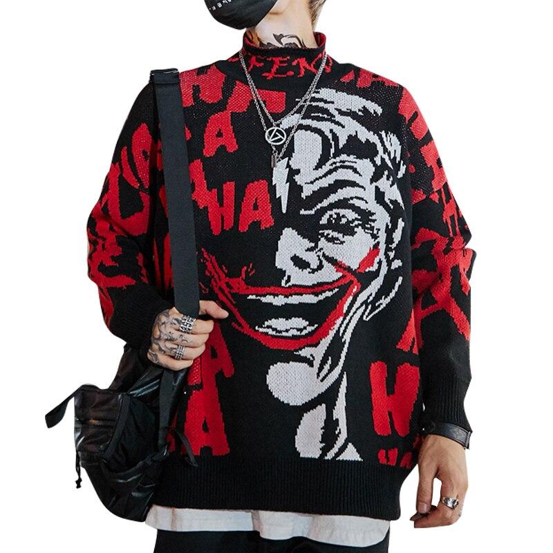 Autumn 2019 Mens New Clown Sweater Hip Hop Sweater Cotton Loose Streetwear Oversized  Mens Fashion Pullover Turtleneck Sweater