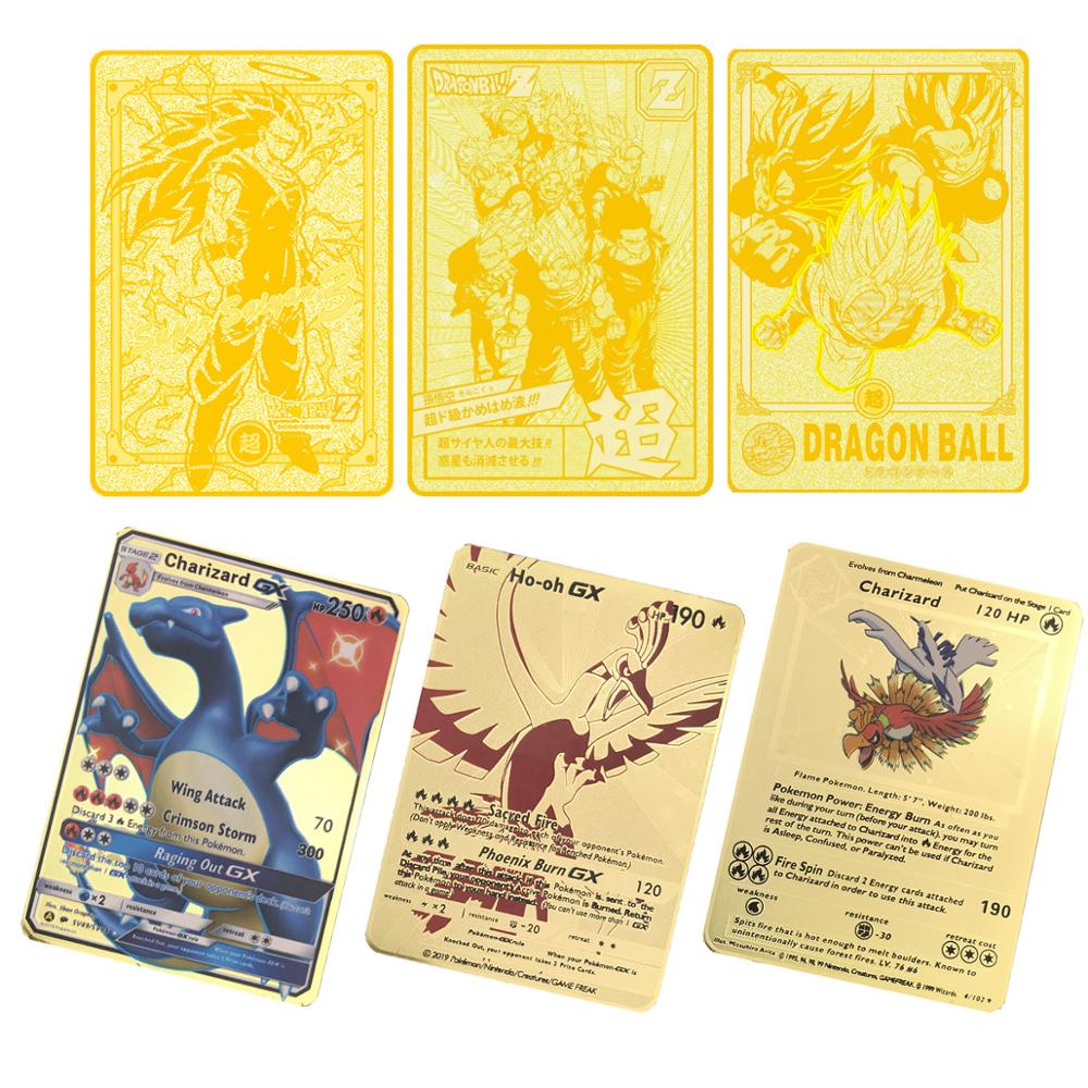 6pcs/lot Metal Dragon Ball Crad(1pc Gold Metal Card And 5pcs Paper Game Cards) With Collection Plastic Box Super Dragon Ball Z
