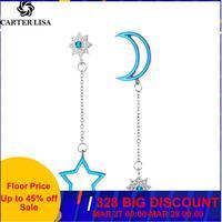 CARTER LISA bleu étoiles longues gland boucles d'oreilles pour femmes feuille plume goutte Brincos Bijoux boucle d'oreille Bijoux boucle d'oreille