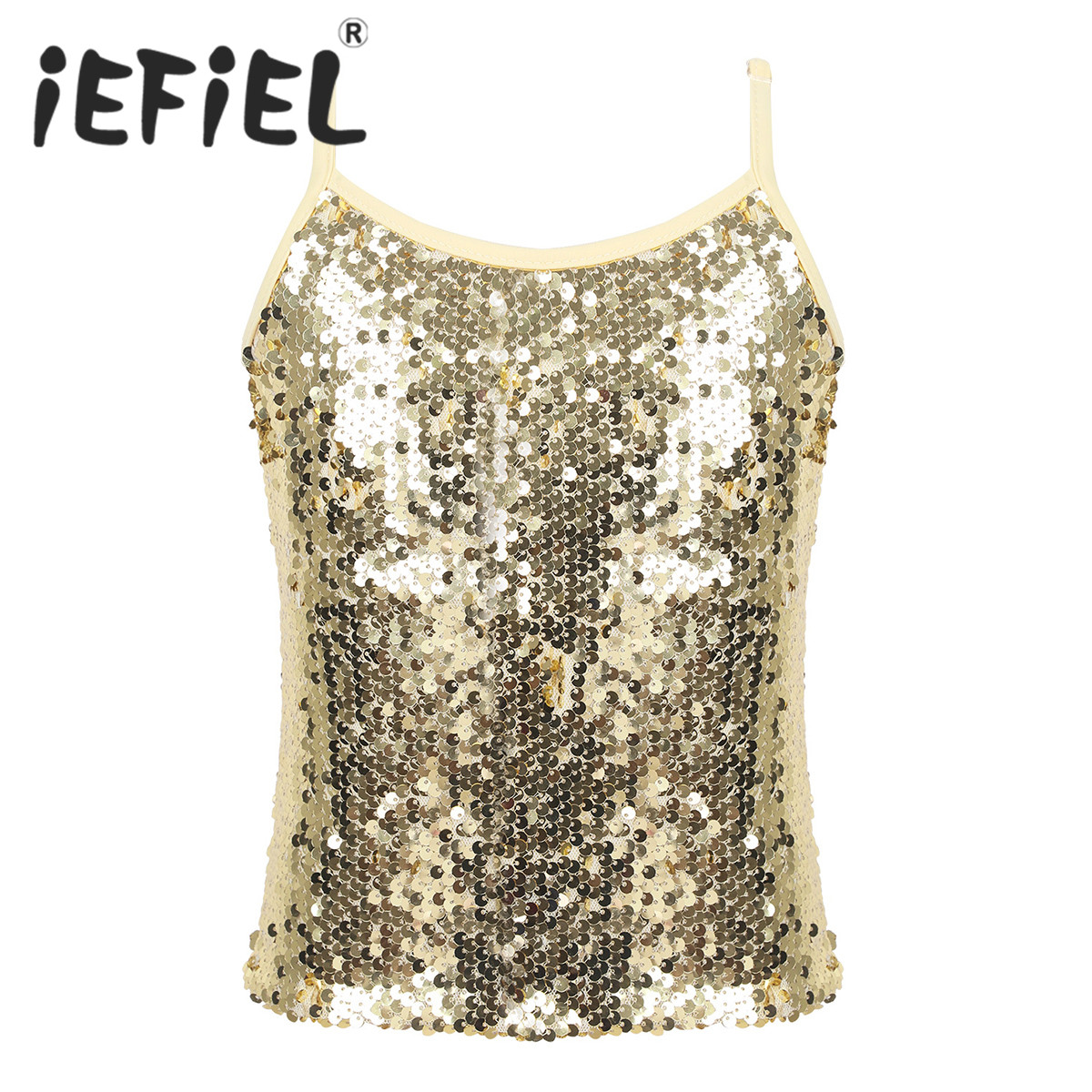 Girls Sparkly Sequined Tank Top Shiny Metallic Gym Performance Camisole T-Shirt