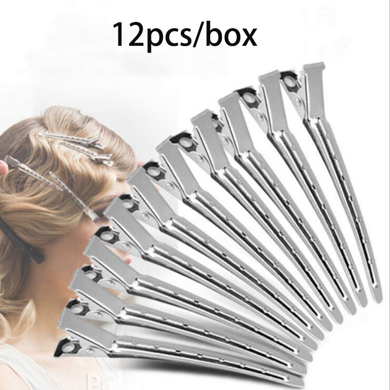 12pcs/lot Hairdressing Makeup Positioning Hair Pins Stainless Steel Duck Mouth Hair Clip Hairstyling Tools Push Ripple Hairclip