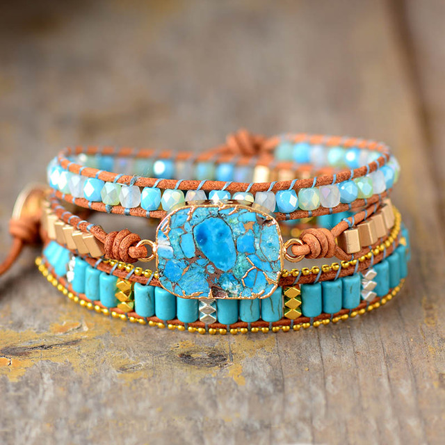 Cuir Bracelet Pierre Porte-Bonheur Turquoise
