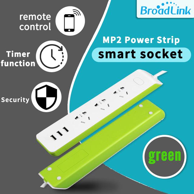 Broadlink WiFi Switch MP2 3G/4G Plug Original Green and White USB Power Strip 3-Outlet AU UK US EU Socket Adapter Remote Control