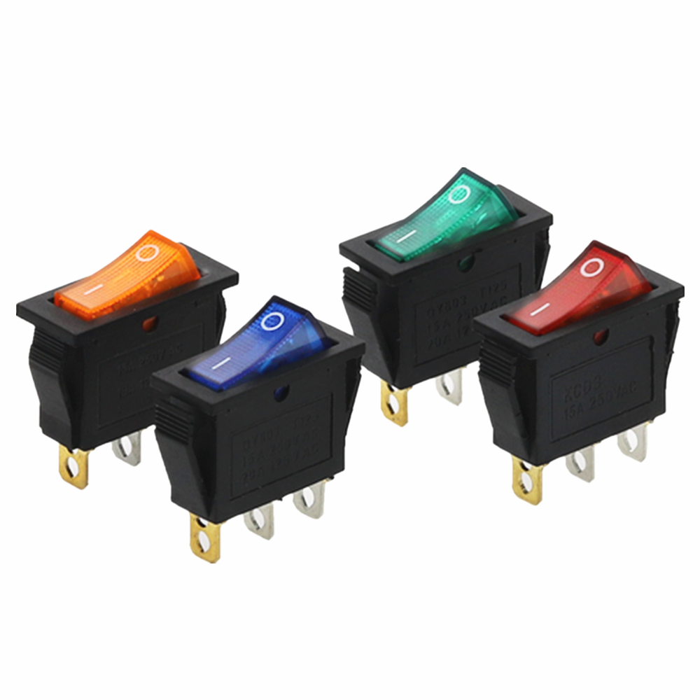 4Pcs KCD3 Rocker Switch ON-OFF 2 Posisi 3 Pin Peralatan dengan Lampu Saklar Daya 16A 250VAC/ 20A 125VAC