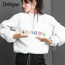 Darlingaga Herfst Winter Faux Fur Coltrui Sweater Vrouwen Trui Shaggy Teddy Sweatshirts Cropped Tops Borduurwerk Mode(China)