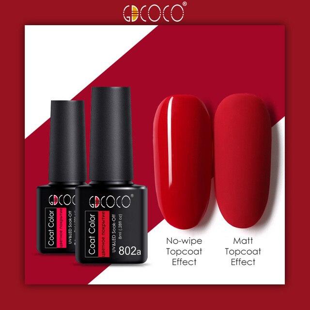 GDCOCO soak off  Base Gel Top Coat Matte Top Gel polish Nail Gel lacquer 8 ml manicure wholesale long lasting Nail color gel 2