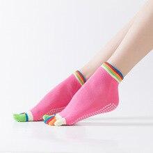 Лидер продаж, женские нескользящие носки для йоги, носки для фитнеса, пилатеса, носки для спортзала с пятью пальцами, спортивные носки, хлопковые цветные эластичные зимние носки