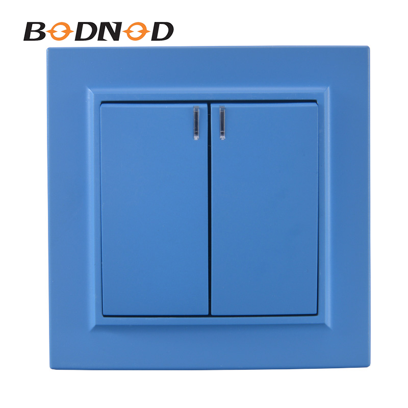 Light Switch Sky Blue Two Gang Switch With Indicater European Inset Decorative Wall Switch DIY 10A 250V Legrand Livolo(China)