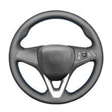 Couverture de volant de voiture en cuir artificiel PU noir cousu à la main pour Opel Astra (K) Corsa (E) Crossland X Grandland X Insignia