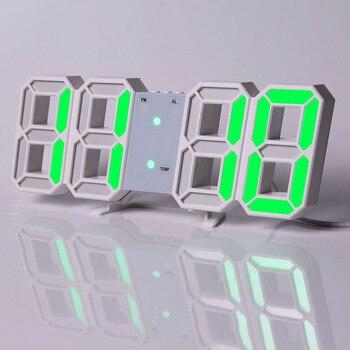 Led Digital Wall Clock Modern Design Watch Clocks 3D Living Room Decor Table  Alarm Nightlight Luminous Desktop 8