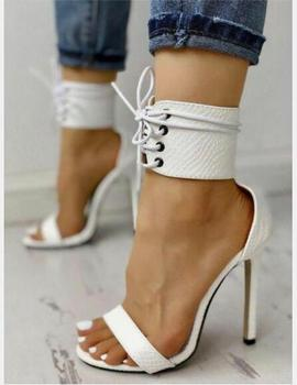 2019 summer shoes high heels lace up white leather shoes for women