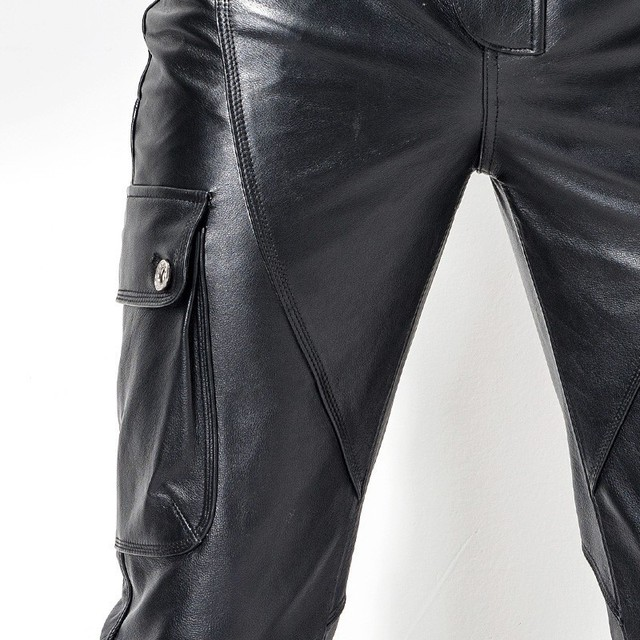 Euro brand new motorcycle men's leather pants pants leather bag leather cutting style fashion men's pencil pants 4