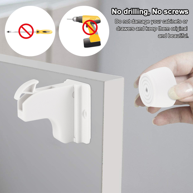 10Locks + 2Key Magnetic Child Lock Baby Safety Cabinet Drawer Door Lock Children Protection Invisible Lock Kids Security 2