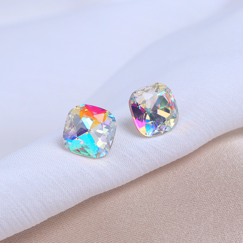Luxury Classic Colour Crystal Stone Stud Earrings Simple Square Crystal Earrings For Women Female Wedding Party Jewelry Gifts
