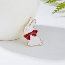 Rinhoo 1P Mulino a vento di Colore Pittura Brooch Della Lega Del Coniglio Bello Bianco Cravatta Distintivo Spilla Per Donna Fashion Regalo Dei Monili(China)
