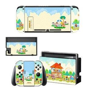 Image 5 - Animal Crossing etiqueta protectora de pantalla para Nintendo Switch NS, base de carga, soporte para Joycon, funda para mando