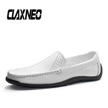 CLAXNEO Man Moccasins White Leather Shoes Slip on Summer Male Boat Shoe Genuine Loafers clax Mens Casual Footwear Soft