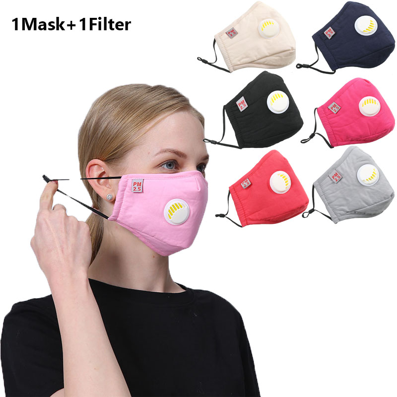 1set Unisex Reusable Protective PM2.5 Filter Washable Mouth Mask Anti Dust Face Mask Windproof Mouth-muffle Bacteria Maska