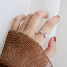 Silver Romantic Double Star Rings 925 Hexagonal Sparkling Zircon For Women Lovers Fashion Ring